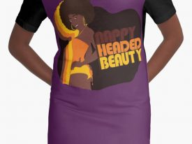"""Nappy Headed Beauty"" Graphic T-Shirt Dress"