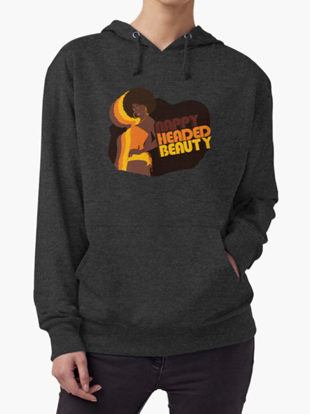 Nappy Headed Beauty - Lightweight Hoodie, Charcoal Heather
