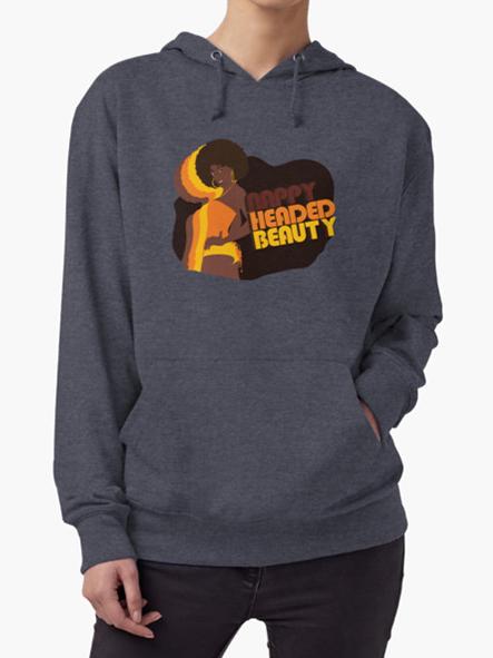 Nappy Headed Beauty - Lightweight Hoodie, Denim
