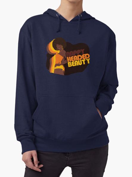 Nappy Headed Beauty - Lightweight Hoodie, Navy
