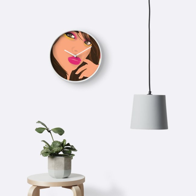 """""""Arielle"""" Bamboo-Frame Clock on the wall"""