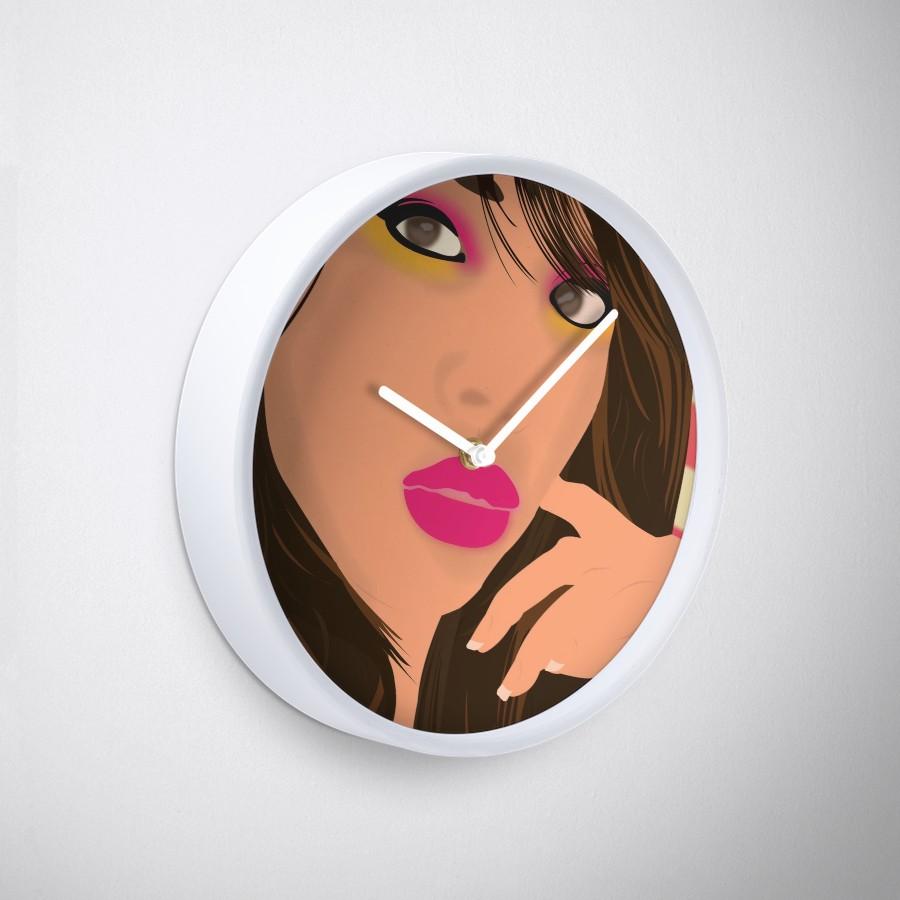 """Arielle"" Bamboo-Frame Clock Close-Up"