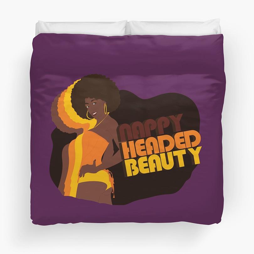"""""""Nappy Headed Beauty"""" Duvet in Purple (Queen)"""