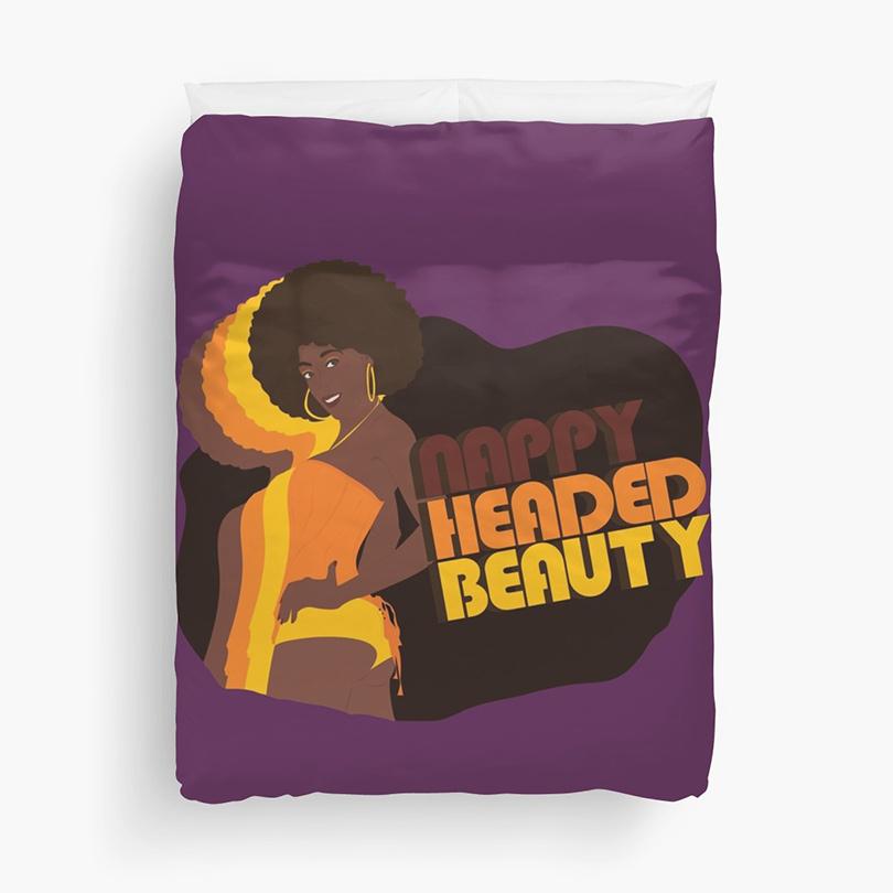 """""""Nappy Headed Beauty"""" Duvet in Purple (King)"""